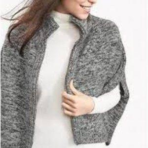 Banana Republic Gray Zip Front Capelet Sweater
